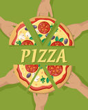 Pizza Pieces in Hand. Vector. Pizza with cheese, tomatoes, mushrooms, olives and aromatic herbs on white background. For wrapping paper, web, printing materials Royalty Free Stock Photos