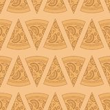 Pizza pieces outline vector seamless pattern. Pizza flat set. Flat style. Vector illustration stock illustration