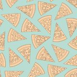 Pizza pieces outline vector seamless pattern. Flat style. Vector illustration. Pizza pieces outline vector seamless pattern. Pizza slice. Flat style. Vector vector illustration