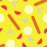 Pizza pieces painted. In graphic style. Vector seamless pattern stock illustration