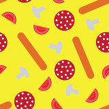 Pizza pieces painted. In graphic style. Vector seamless pattern royalty free illustration