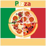 Pizza, pieces of pizza on the background of the Italian flag. Cut pizza. Flat design, illustration royalty free illustration