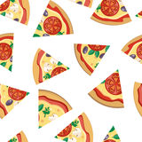 Pizza Pieces Seamless Flat Pattern Vector. Pizza pieces vector seamless pattern. Pizza with cheese, tomatoes, mushrooms, olives and aromatic herbs on white Royalty Free Stock Photos