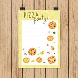 Pizza party invitation or banner in doodle style stock illustration