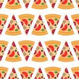 Pizza pieces vector seamless pattern. Pizza slice. Flat style. Vector illustration stock illustration