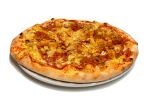 Pizza with Pinapple. A plate full of spicy and delicious pinapple pizza Royalty Free Stock Photography