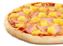 Pizza with pineapple and ham on white background. Royalty Free Stock Photography