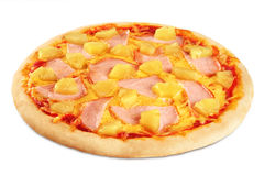 Pizza with pineapple and ham on white background. Royalty Free Stock Photos