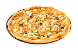 Pizza with pineapples and shrimps Royalty Free Stock Photos