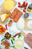Pizza and Pizza ingredients Stock Photography
