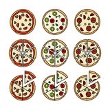 Pizza with pizza slices icons Royalty Free Stock Images