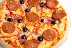 Pizza, pizzas European and American cuisine Royalty Free Stock Image