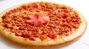 Pizza, pizzas European and American cuisine Royalty Free Stock Photo