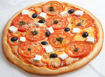 Pizza, pizzas European and American cuisine Stock Photos