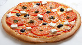 Pizza, pizzas European and American cuisine Royalty Free Stock Photography