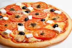 Pizza, pizzas European and American cuisine Stock Photo