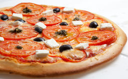 Pizza, pizzas European and American cuisine Royalty Free Stock Images