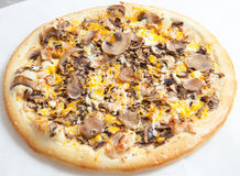 Pizza, pizzas European and American cuisine. Perfectly cooked and delicious kind of mastery of the chef Stock Image