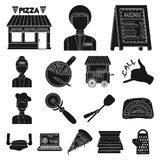 Pizza and pizzeria black icons in set collection for design. Staff and equipment vector symbol stock web illustration. Pizza and pizzeria black icons in set Stock Photo