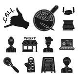 Pizza and pizzeria black icons in set collection for design. Staff and equipment vector symbol stock web illustration. Pizza and pizzeria black icons in set Stock Photography