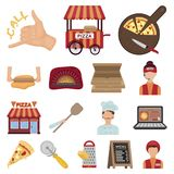 Pizza and pizzeria cartoon icons in set collection for design. Staff and equipment vector symbol stock web illustration. Pizza and pizzeria cartoon icons in set Stock Photography