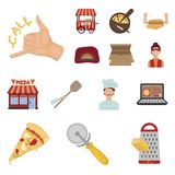 Pizza and pizzeria cartoon icons in set collection for design. Staff and equipment vector symbol stock web illustration. Pizza and pizzeria cartoon icons in set Royalty Free Stock Photo