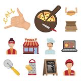 Pizza and pizzeria cartoon icons in set collection for design. Staff and equipment vector symbol stock web illustration. Pizza and pizzeria cartoon icons in set Stock Images