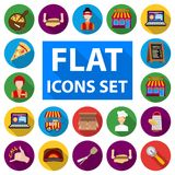 Pizza and pizzeria flat icons in set collection for design. Staff and equipment vector symbol stock web illustration. Pizza and pizzeria flat icons in set Royalty Free Stock Photography