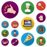 Pizza and pizzeria flat icons in set collection for design. Staff and equipment vector symbol stock web illustration. Pizza and pizzeria flat icons in set Stock Photography