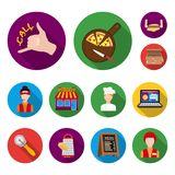 Pizza and pizzeria flat icons in set collection for design. Staff and equipment vector symbol stock web illustration. Pizza and pizzeria flat icons in set Stock Image