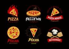 Pizza, pizzeria label or logo. Elements for menu design restaurant or cafe. Pizza, pizzeria label or logo. Elements for menu design restaurant stock illustration