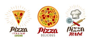 Pizza, pizzeria logo or icon. Labels for menu design restaurant or cafe. Vector illustration. Isolated on white background stock illustration