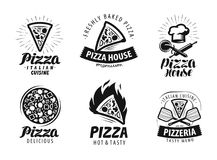 Pizza, pizzeria logo or label. Food icon set. Vector illustration. Isolated on white background vector illustration