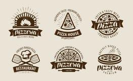 Pizza, pizzeria logo or label. Food symbol set. Vector illustration. Pizza, pizzeria logo or label. food symbol set. vector vector illustration
