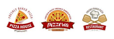 Pizza, pizzeria logo or symbol. Labels for menu design restaurant or cafe. Vector illustration. Pizza, pizzeria logo or label. Labels for menu design restaurant stock illustration