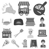 Pizza and pizzeria monochrome icons in set collection for design. Staff and equipment vector symbol stock web. Pizza and pizzeria monochrome icons in set Stock Images