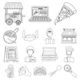 Pizza and pizzeria outline icons in set collection for design. Staff and equipment vector symbol stock web illustration. Pizza and pizzeria outline icons in set Stock Photos