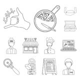 Pizza and pizzeria outline icons in set collection for design. Staff and equipment vector symbol stock web illustration. Pizza and pizzeria outline icons in set Stock Photography