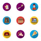 Pizza and pizzeria set icons in flat style. Big collection of pizza and pizzeria vector symbol Royalty Free Stock Images