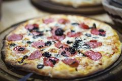 Pizza, pizzerias, background image, blur, blurred frame, salami, Stock Images