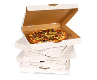 Pizza boxes, white, isolated stacked Royalty Free Stock Photos