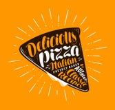 Pizza plasterek Element menu pizzeria lub restauracja Ręcznie pisany literowanie, kaligrafia wektoru ilustracja Zdjęcie Royalty Free