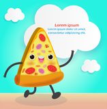 Pizza plasterek ?mieszny FastFood Pizza plakatowy projekt Wektorowa ilustracyjna posta? z kresk?wki odizolowywaj?ca na tle ilustracji