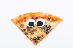 Pizza plasterek z googly oczami na białym tle Zdjęcia Royalty Free