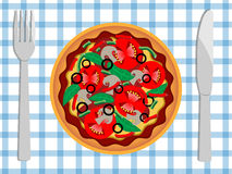 Pizza. The plate with pizza, fork and knife stock illustration