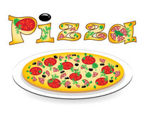 Pizza on a plate and an inscription on it Stock Photos
