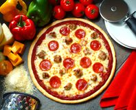 Pizza on a plate stock photos
