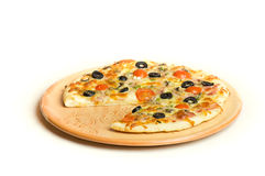 Pizza. A plate of a tasty pizza stock photography