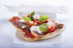 Pizza pomodoro, vegetarian and homemade  on white backgr Stock Photo