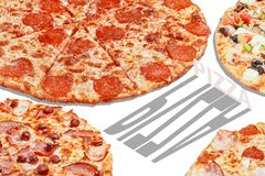 Pizza pop art banner advertising concept.  stock photo